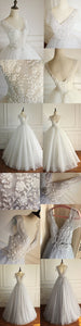 Gray A Line V Neck V Back Short Sleeves Tulle Wedding Dresses Best Bride Gown