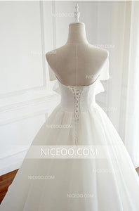 Elegant White Open Back Chiffon Wedding Dresses Best Bride Gown With Bow