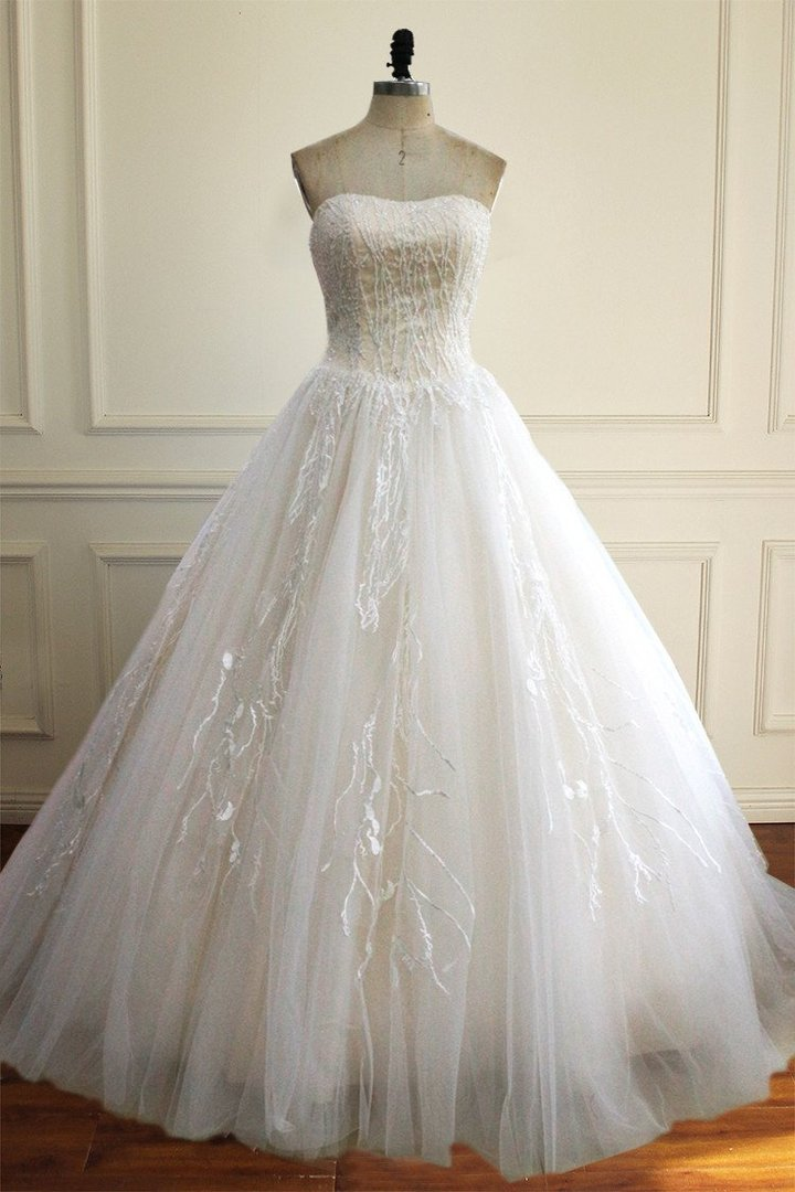 Simple White Strapless A Line Empire Waist Tulle Wedding Dresses Best Niceoo