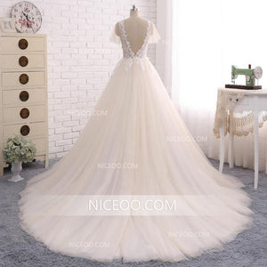 A Line V Neck V Back Short Sleeves Tulle Wedding Dresses Best Bride Gown - NICEOO
