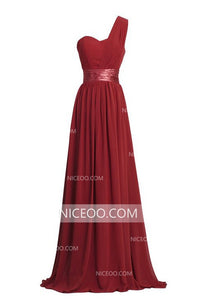 Simple One Shoulder Sweetheart Long Bridesmaid Dresses Chiffon Prom Dresses
