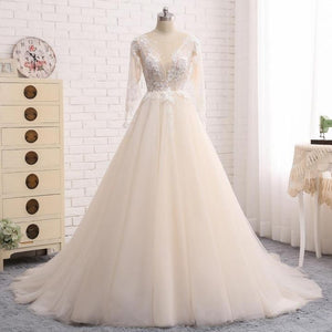 A Line V Neck V Back Long Sleeves Tulle Wedding Dresses Best Bride Gown - NICEOO