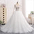 A Line Round Neck Long Sleeves Open Back Lace Wedding Dresses Best Bride Gown - NICEOO
