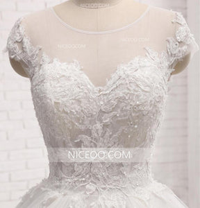 A Line White Sweetheart Cut Out Lace Wedding Dresses - NICEOO