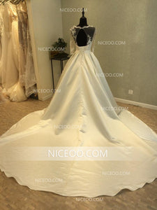 A Line Round Neck Long Sleeves Cut Out Satin Wedding Dresses Best Bride Gown - NICEOO