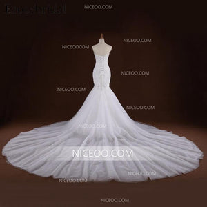White Mermaid Strapless Lace Cathedral Train Best Wedding Dresses - NICEOO