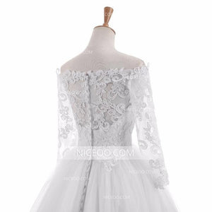 Simple White Off Shoulder Long Sleeves Wedding Dresses Best Bride Gown