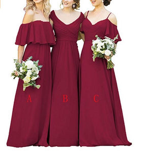 Elegant Burgundy Three Styles A Line Empire Waist Chiffon Bridesmaid Dresses Evening Dresses