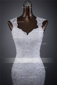White Mermaid Sweetheart Strap Wedding Dresses Best Bride Gown - NICEOO