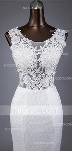 White Mermaid Round Neck Sleeveless Cut Out Wedding Dresses Best Bride Gown - NICEOO
