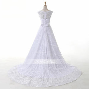 White Round Neck Sleeveless Lace Wedding Dresses Best Bride Gown - NICEOO
