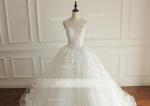Simple A Line White Round Neck Sleeveless Wedding Dresses Best Bride Gown - NICEOO