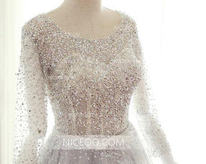 A Line Round Neck Long Sleeves Cut Out Wedding Dresses Best Bride Gown With Rhinestone - NICEOO
