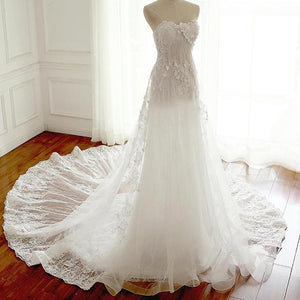 Sweetheart Open Back Lace Wedding Dresses Best Bride Gown With Appliques