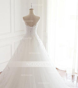 A Line White Strapless Open Back Tulle Wedding Dresses Best Bride Gown - NICEOO