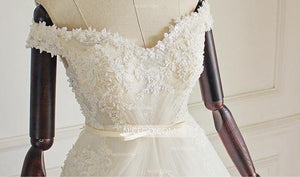 White Sweetheart Off Shoulder Tulle Wedding Dresses Best Bride Gown - NICEOO