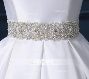 A Line Square Neck Sleeveless Satin Wedding Dresses Best Bride Gown - NICEOO