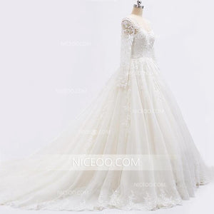 White Sweetheart Sleeveless Open Back Lace Wedding Dresses Best Bride Gown - NICEOO