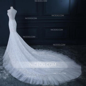 White Mermaid Spaghetti Strap Sweetheart Lace Wedding Dresses Best Bride Gown