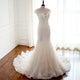 White Mermaid Sweetheart Sleeveless Lace Wedding Dresses Best Bride Gown