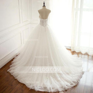 White Sweetheart Open Back Tulle Wedding Dresses Best Bride Gown