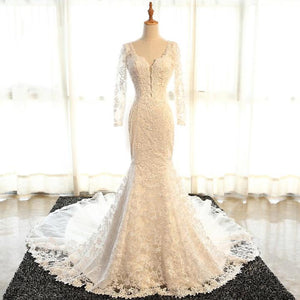 White Long Sleeves Open Back Mermaid Cathedral Train Best Bride Gown