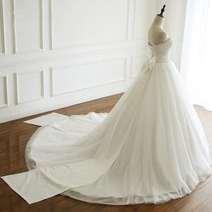 White A Line Strapless Tulle Wedding Dresses Best Bride Gown With Bow