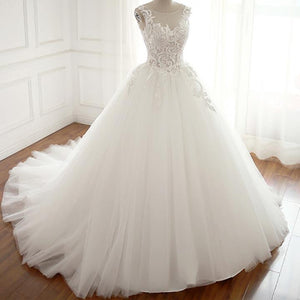 Round Neck Sleeveless Backless Wedding Dresses Best Bride Gown - NICEOO