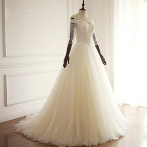 White Off Shoulder A Line Sweetheart Tulle Wedding Dresses Best Bride Gown