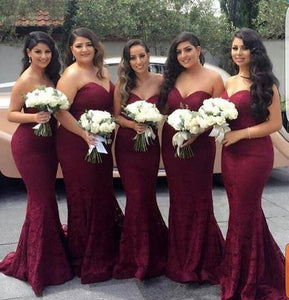 Sexy Burgundy Sweetheart Mermaid Lace Bridesmaid Dresses Prom Dresses