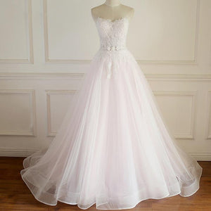 A Line Sleeveless V Neck Open Back Wedding Dresses Best Bride Gown - NICEOO