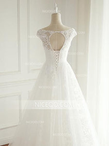 A Line V Neck Cut Out Sleeveless Lace Wedding Dresses Best Bride Gown - NICEOO