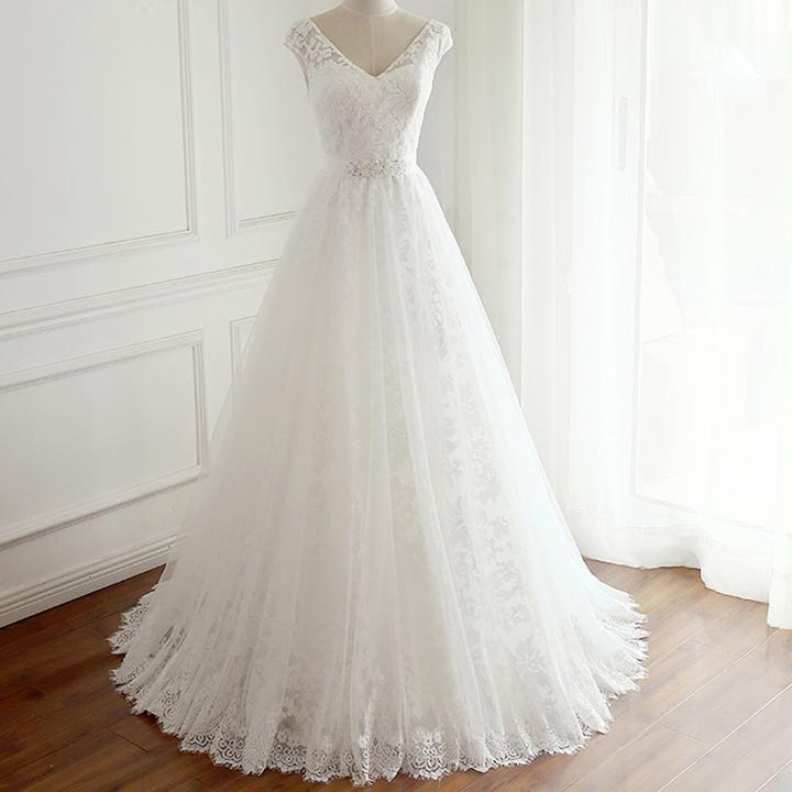 2f2131f4ab A Line V Neck Cut Out Sleeveless Lace Wedding Dresses Best Bride Gown -  NICEOO