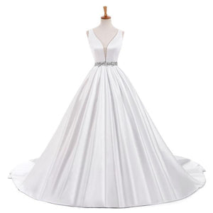 A Line White V Neck Open Back Satin Wedding Dresses Best Bride Gown With Rhinestones - NICEOO