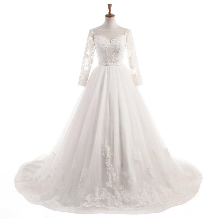 afe689b234 White A Line Long Sleeves Sweetheart Open Back Wedding Dresses Best Bride  Gown