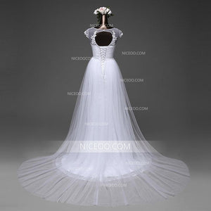 White Mermaid Round Neck Sleeveless Cut Out Lace Wedding Dresses Best Bride Gown