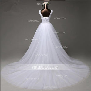 Round Neck Sleeveless Open Back Lace Wedding Dresses Best Bride Gown - NICEOO