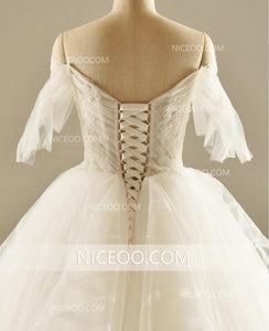 A Line Off Shoulder Sweetheart Backless Wedding Dresses Best Bride Gown - NICEOO