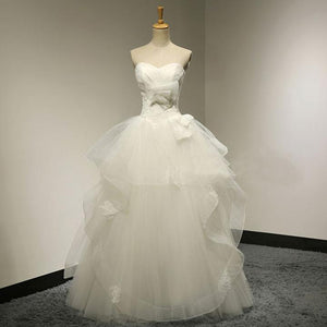 A Line Strapless Open Back Organza Wedding Dresses Best Bride Gown - NICEOO