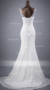 Mermaid Round Neck Sleeveless Open Back Wedding Dresses Best Bride Gown - NICEOO