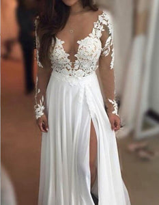 Sexy V Neck Long Sleeves Side Split Lace Wedding Dresses Best Bride Gown