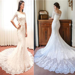 White Mermaid Half Sleeves Off Shoulder Wedding Dresses Best Bride Gown