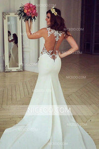Sexy Mermaid Sweetheart Open Back Satin Wedding Dresses Best Bride Gown