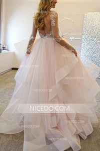 A Line Off Shoulder Long Sleeves Organza Wedding Dresses Best Bride Gown - NICEOO