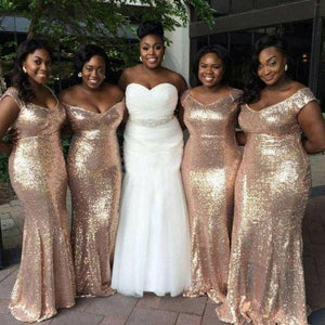 Sexy Rose Gold V Neck Mermaid Sequin Bridesmaid Dresses Long Plus Size Prom Dresses