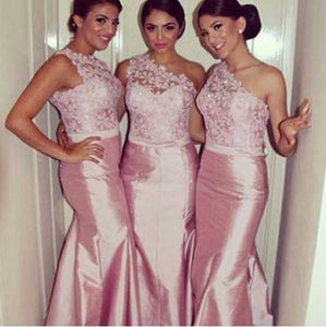 Unique Pink One Shoulder Mermaid Affordable Satin Bridesmaid Dresses Prom Dresses