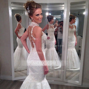 Sweetheart Sleeveless Mermaid Open Back Wedding Dresses Best Bride Gown
