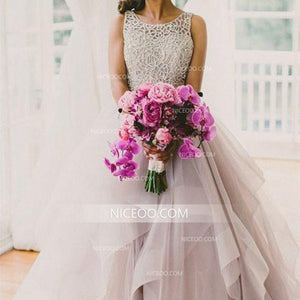 Round Neck Sleeveless Open Back Wedding Dresses Best Bride Gown - NICEOO
