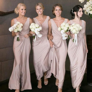 Simple Blush Pink V Neck Sleeveless Empire Waist Affordable Chiffon Bridesmaid Dresses Evening Dresses