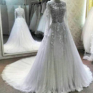 Elegant Round Neck Long Sleeves Lace Wedding Dresses Best Cathedral Train